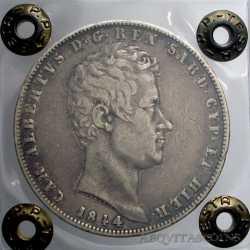 Carlo Alberto - 5 LIRE 1844 Ge