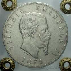 Vitt. Eman. II - 5 Lire 1874 M