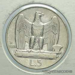 Vitt. Eman. III - 5 Lire 1928 - 1 ros. R