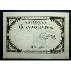 France - Assignat de Cinq Livres 1792