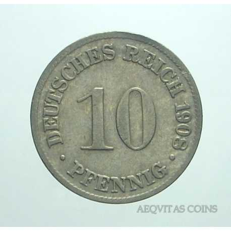 Germany - 10 Pfennig 1908 D
