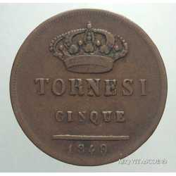 Napoli - 5 Tornesi 1849