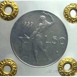 50 Lire Vulcano 1959 Periziata