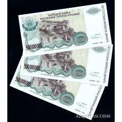 Croatia - 3 x 500.000.000 Dinar 1993