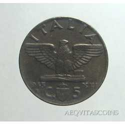 Vitt. Eman. III - 5 Cent 1943 R
