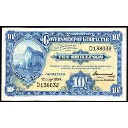 Gibilterra - 10 shillings 1954