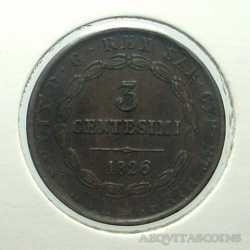 Carlo Felice - 3 Cent 1826 T