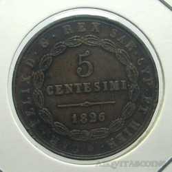 Carlo Felice - 5 Cent 1826 G