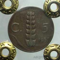 Vitt. Eman. III - 5 Cent 1937 R