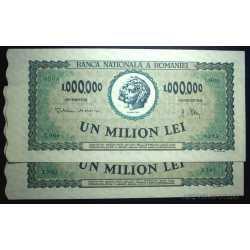 Romania -  2 x 1.000.000 Lei 1947  Rare