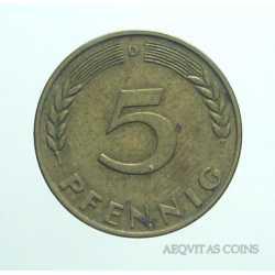 Germany -  5 Pfennig 1950 D