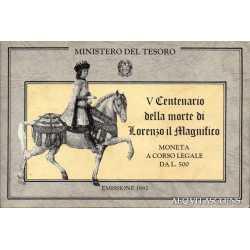 500 Lire Lorenzo il Magnifico 1992