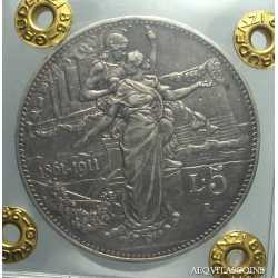 5 Lire 1911 Cinquantenario