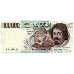 100.000 Lire Caravaggio 1990 Numeri Verdi