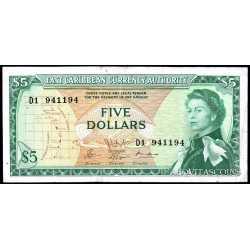 East Caribbean  - 5 dollars 1965