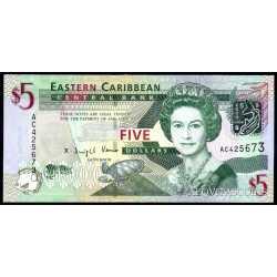 East Caribbean  - 5 Dollars 2008