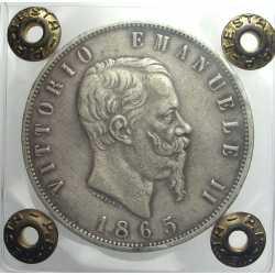 5 Lire 1865 N Rara
